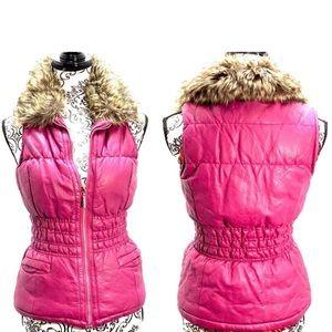 DOLLHOUSE OUTERWEAR- puffer vest w faux fur